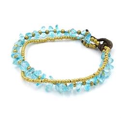 Armband 4mm 3 rij stone beads met oudgoud