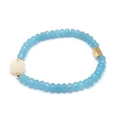 Armband facet donut blue sponge quartz met halfedelsteen bloem