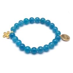 Armband halfedelsteen blauw met goud