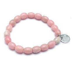 Armband halfedelsteen roze eitje