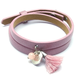 Armband leather look roze 2 keer om