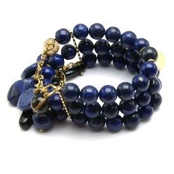 Armband halfedelsteen lapis lazuli met goud 3-rij