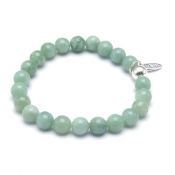 Armband 8mm halfedelsteen light jade