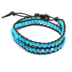 Armband wrap met steenkralen, ijsblauw