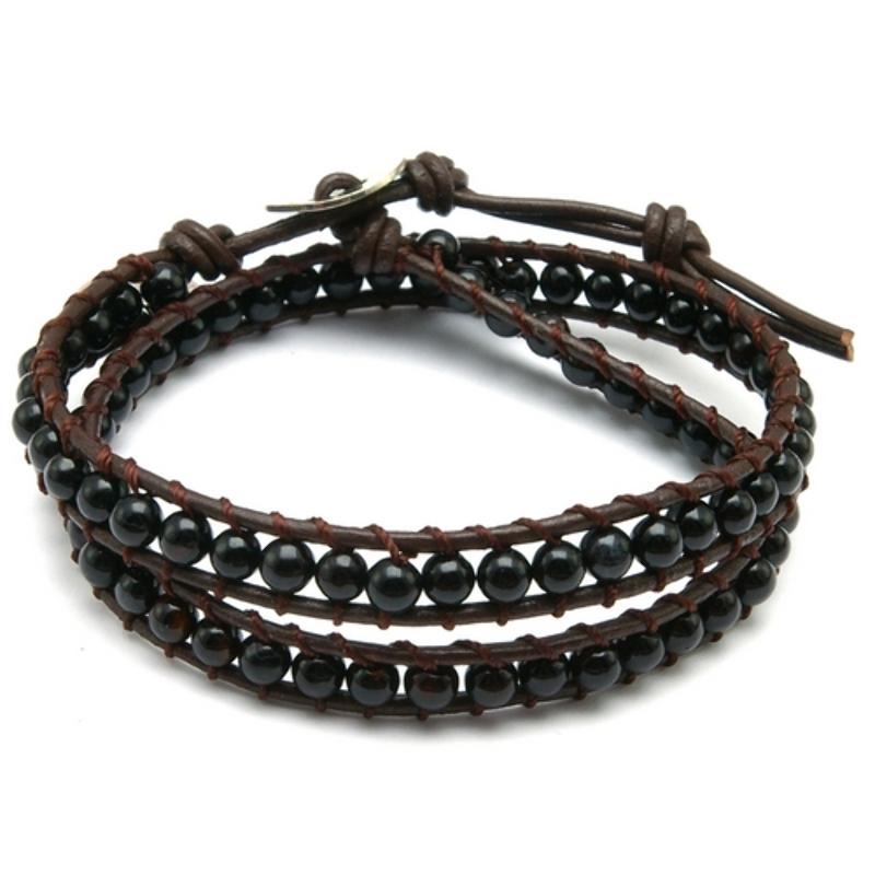 Armband wrap met steenkralen, zwart