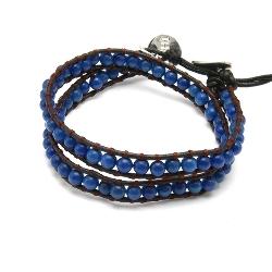 Armband wrap met steenkralen, donkerblauw