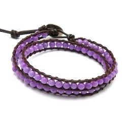 Armband wrap met steenkralen, lila