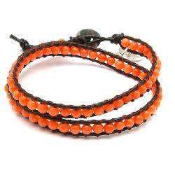 Armband wrap met steenkralen, oranje