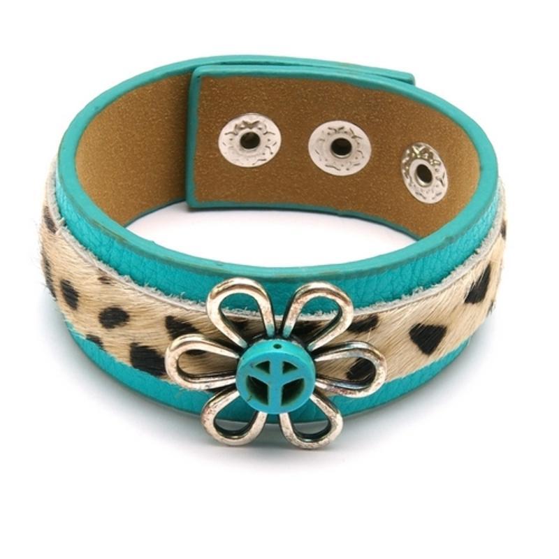 Armband pu leer turquoise met bont bandje en metalen bloem