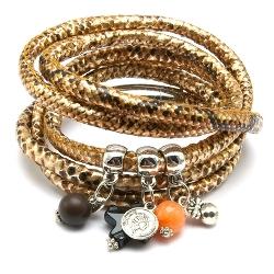 Armband wikkel 5 keer om pu leer snake goud