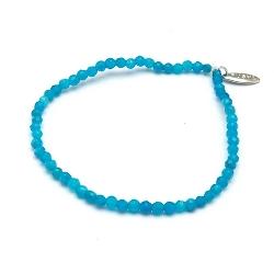 Armband 3mm halfedelsteen agaat blauw