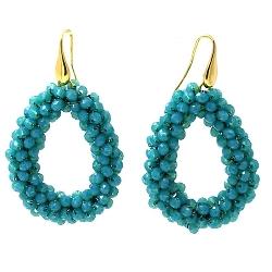 Oorbellen Candy zeeblauw facet met gouden haakjes