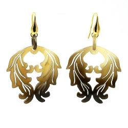 Oorbellen buffelhoorn naturel hangend ornament met zilver haakje