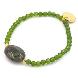 Armband 4mm steenkralen groen met agaat steen