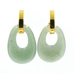 Oorbellen halfedelsteen hanger ovaal jade met gouden creolen