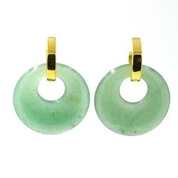Oorbellen halfedelsteen hanger rond jade met stainless steel creolen goud