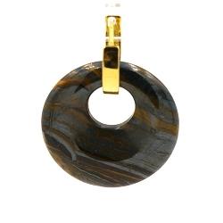 Oorbellen halfedelsteen hanger rond tigereye met stainless steel creolen goud