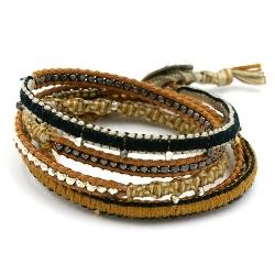 Armband wrap 5 rij leer, touw en metaal zilver lichtbruin/beige