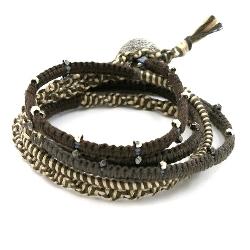 Armband wrap 5 rij leer, touw en metaal zilver bruin/beige