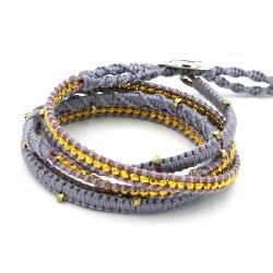 Armband wikkel 5 rij touw goud grijs