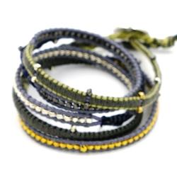 Armband wikkel 5 rij touw goud groen/grijs