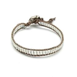 Armband 2 rij facetkraaltjes met natuurleer en zilver