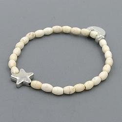 Armband gekleurd turquoise wit ovaal met zilver sterretje