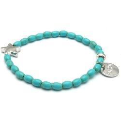 Armband gekleurd turquoise met metalen ster