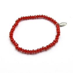 Armband facet 4mm (rood)