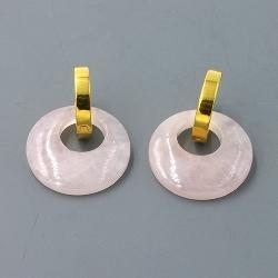 Oorbellen halfedelsteen hanger rond rozekwarts met stainless steel creolen