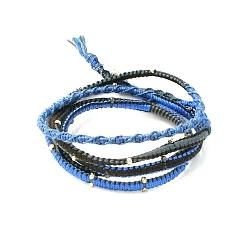 Armband wikkel 5 rij touw goud blauw/grijs