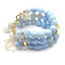 Armband 3 rij blue lace met bedels