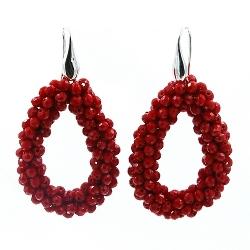 Oorbellen Candy rood facet met zilveren haakjes