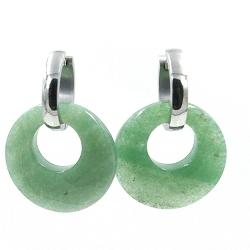 Oorbellen halfedelsteen hanger rond jade met stainless steel creolen
