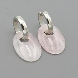 Oorbellen halfedelsteen hanger ovaal rozekwarts met stainless steel creolen