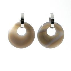 Oorbellen halfedelsteen hanger rond agaat grijs met stainless steel creolen zilver