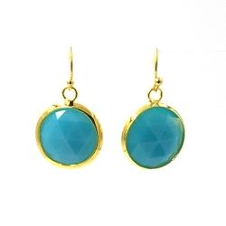 Oorbellen facet geslepen rond 18mm turquoise met goud