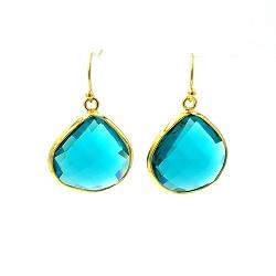 Oorbellen facet geslepen crystal druppel (turquoise)