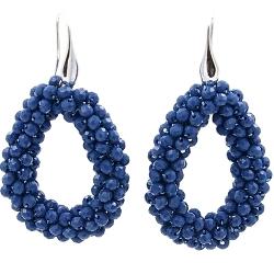 Oorbellen Candy jeansblauw facet met zilveren haakjes