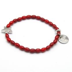 Armband gekleurd turquoise rood met metalen ster zilver