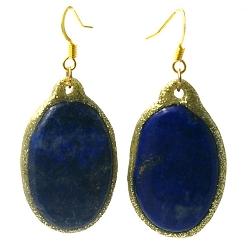 Oorbellen halfedelsteen ovaal lapis lazuli