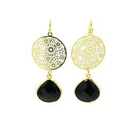 Oorbellen rond filligrain ornament met facetgeslepen druppel zwart