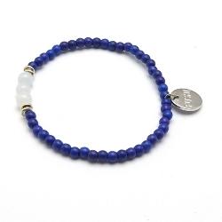 Armband 4mm gekleurd turquoise met steenkralen