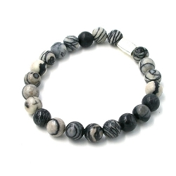 Armband halfedelsteen 8mm grijs/zwart