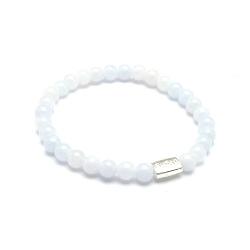 Armband 8mm steenkralen lichtblauw/wit