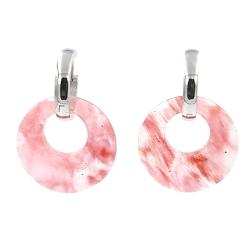 Oorbellen halfedelsteen hanger rond cherry quartz met stainless steel creolen
