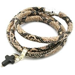 Armband wrap pu leer snake bruin/zwart