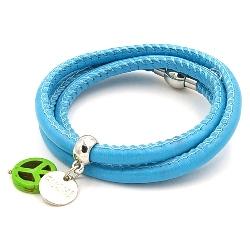 Armband wrap pu leer turquoise