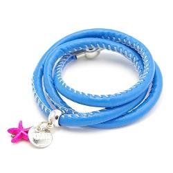 Armband wrap pu leer koningsblauw
