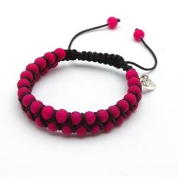 Armband rubber met touw neonkleuren fuchsia